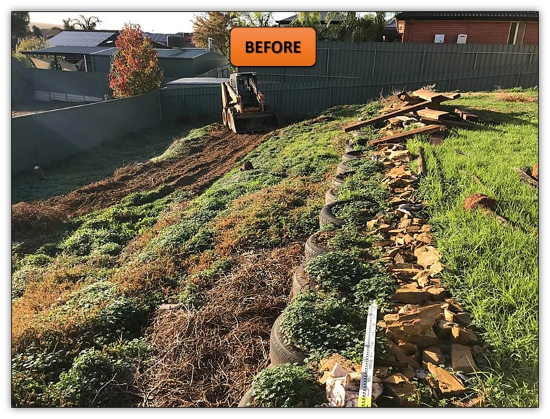 Backyard Retaining Wall Excavation - Bobcat Services Gawler East
