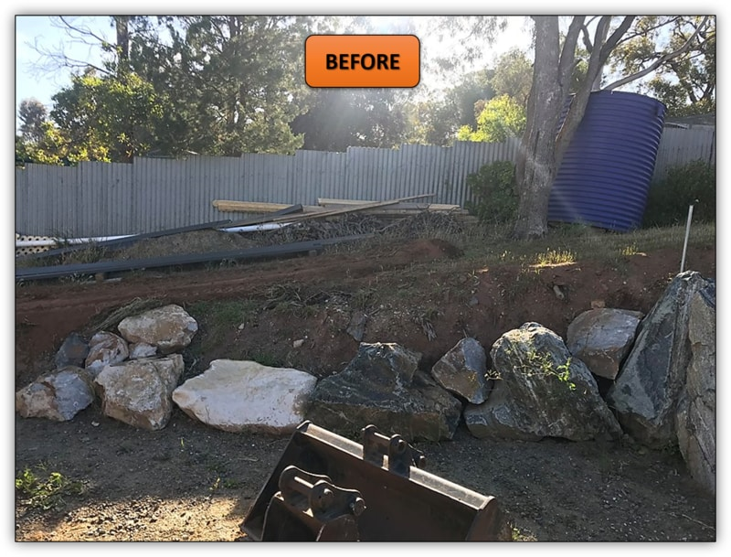 Backyard Rock Retaining Wall Adelaide