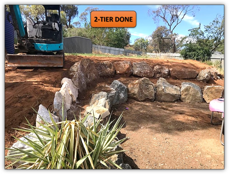 Backyard Rock Retaining Wall Earthmoving Service Northern Adelaide