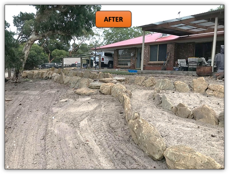 3 Tier Backyard Rock Retaining Wall Earthmoving Service Adelaide