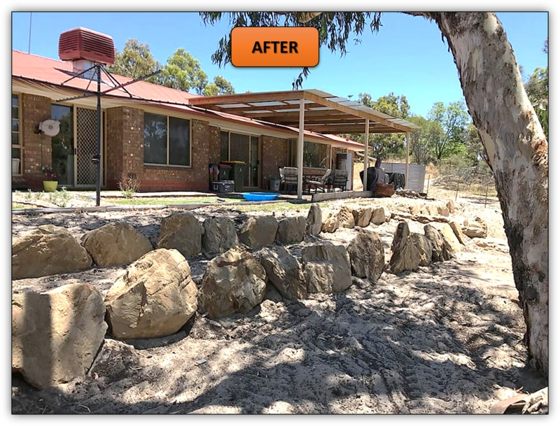 3 Tier Backyard Rock Retaining Wall Earthmoving Service Cockatoo Valley