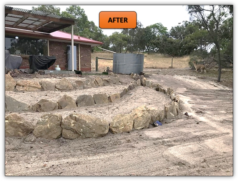3 Tier Backyard Rock Retaining Wall Earthmoving Service Northern Adelaide